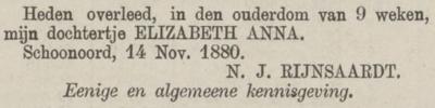 Elizabeth Anna Rijnsaardt, 14-11-1880, overlijdensadvertentie