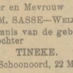 Tineke Sasse, 22-3-1925, geboorteadvertentie