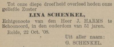 Lina Schenkel, 22-10-1908, overlijdensadvertentie