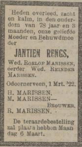 Jantien Rengs, 1-3-1922, overlijdensadvertentie