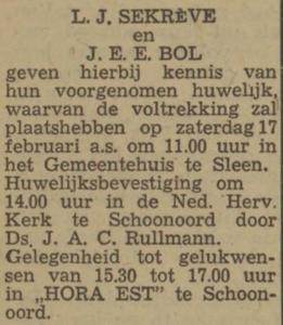 Sekreve en Bol, 17-2-1968, huwelijksaankondiging