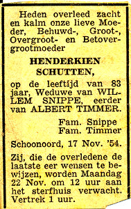 Overlijdensadvertentie Henderkien Schutten, 1954