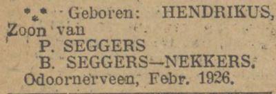 Hendrikus Seggers, 2-1926, geboorteadvertentie