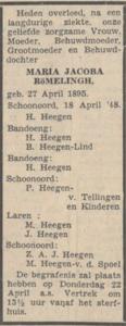 Maria Jacoba Römelingh, 18-4-1948, overlijdensadvertentie