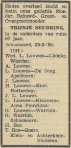 Trijntje Seubring, 25-3-1950, overlijdensadvertentie