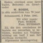 Willem Roede, 3-2-1941, overlijdensadvertentie