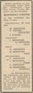 Henderkien Schipper, 28-6-1940, overlijdensadvertentie