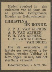 Christina de Ronde, 7-11-1927, overlijdensadvertentie