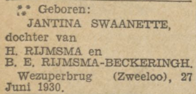 Jantina Swaanette Rijmsma, 27-6-1930, geboorteadvertentie