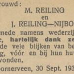 Reiling en Nijboer. 30-9-1933, huwelijksadvertentie