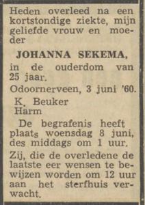 Johanna Sekema. 3-6-1960, overlijdensadvertentie