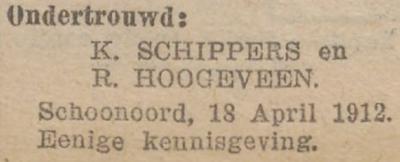 Schippers en Hoogeveen, 18-4-1912, ondertrouwd