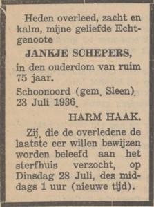 Jankje Schepers, 23-7-1936, overlijdensadvertentie