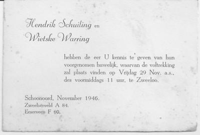 Trouwkaart Schuiling en Warring, 29-11-1946