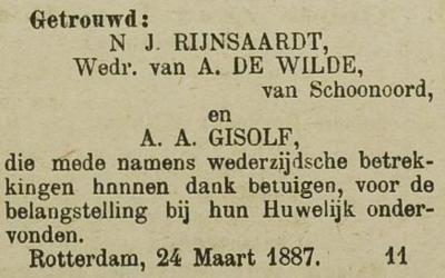 Rijnsaardt en Gisolf, 24-3-1887, huwelijksadvertentie