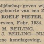 Roelf Pieter Reiling, 2-1934, geboorteadvertentie