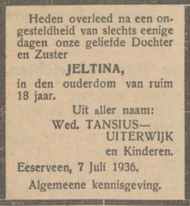 Jeltina Tancius, 7-7-1936, overlijdensadvertentie