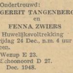 Tangenberg en Zwiers, 12-1948, ondertrouwd