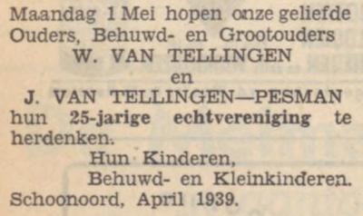 van Tellingen en Pesman, 1-5-1939, 25 jarig huwelijk