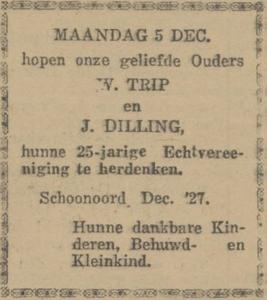 Trip en Dilling, 5-12-1927. 25 jarig huwelijk