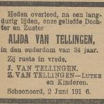 Alida van Tellingen, 2-6-1916 overlijdensadvertentie