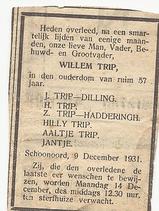 Willem Trip, 9-12-1931, overlijdensadvertentie