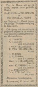 van Tellingen en Filips, 21-3-1930, 50 jarig huwelijk