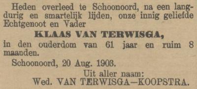 Klaas van Terwisga, 20-8-1903, overlijdensadvertentie