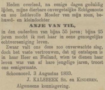 Anje van Til, 3-8-1893 overlijdensadvertentie