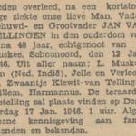 Jan van Tellingen, 12-1-1946, overlijdensadvertentie