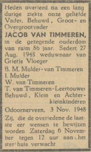 Jacob van Timmeren, 3-11-1948, overlijdensadvertentie