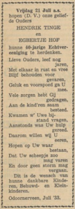 Tinge en Hof, 21-7-1933, 40 jarig huwelijk