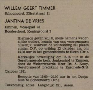 Timmer en de Vries, huwelijksaankondiging