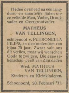 Matheus van Tellingen, 20-2-1931, overlijdensadvertentie
