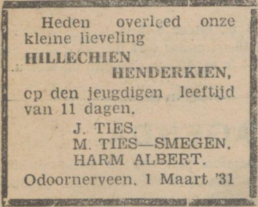 Hillechien Henderkien Ties, 1-3-1931, overlijdensadvertentie