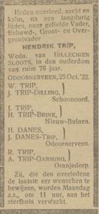 Hendrik Trip, 25-10-1922, overlijdensadvertentie