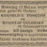 Tonkens en Uuldriks, 12-5-1919, 25 jarig huwelijk