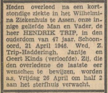 Hendrik Trip, 21-4-1946, overlijdensadvertentie