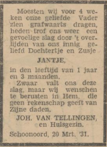 Jantje van Tellingen, 20-3-1931, overlijdensadvertentie