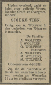 Sjouke Tien, 4-8-1928, overlijdensadvertentie