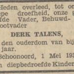Derk Talens, 1-5-1930, overlijdensadvertentie