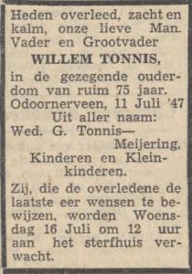 Willem Tonnis, 11-7-1945, overlijdensadvertentie