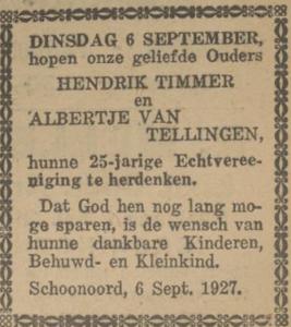 Timmer en van Tellingen, 6-9-1927, 25 jarig huwelijk