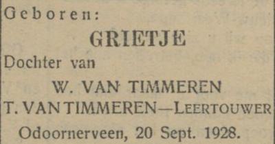 Grietje van Timmeren, 20-9-1928, geboorteadvertentie