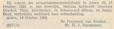 Thijs en Booij, 13-10-1922, echtscheiding