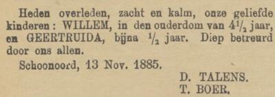Willem en Geertruida Talens, 13-11-1886, overlijdensadvertentie