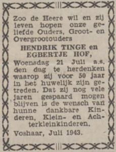 Tinge en Hof, 21-7-1943, 50 jarig huwelijk