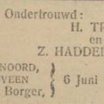Trip en Hadderingh, 6-6-1922 ondertrouwadvertentie