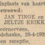 Tinge en Krikke, 29-4-1932, ondertrouwd
