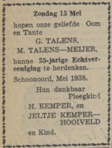 Talens en Meijer, 15-5-1938, 25 jarig huwelijk